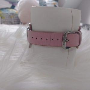Fossil Accessories - Pink Leather Cuff Analogue Watch Bracelet